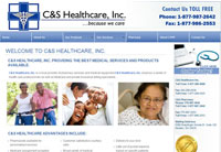 Client: C and S Healthcare, Inc.<br/>Project:www.candshealthcare.com<br/>Tools: xhtml, css, spry, flash, photoshop
